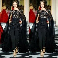 elie saab boncuklu dantel elbisesi toptan satış-Wrap Illusion Dantel Boncuklu Kokteyl Parti Ünlü Hüsniye Moda elbiseler ile 2020 Elie Saab Yeni Siyah Abiye Kadın Tulumlar