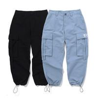pantalones tobilleros al por mayor-Pantalones de carga Bolsillos Pantalones de chándal Pantalones sueltos Hip Hop Pantalones Hombres Joggers de alta calidad Pantalones atados de tobillo