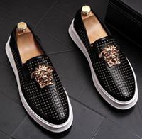 vestidos formales para hombre. al por mayor-Hombres de negocios de cuero básico hebilla de metal con tachuelas zapatos de vestir de boda Ropa formal de lujo Reino Unido de gran tamaño 740