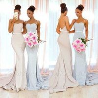 Wholesale sexy open back wedding dresses for sale - Ivory Mermaid Bridesmaid Dresses Sexy Spaghetti Straps Open Back Sweep Train Maid of Honor Arabic Wedding Guest Evening Prom Gowns