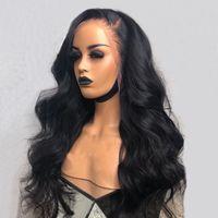 perucas de onda de corpo de mulheres negras venda por atacado-250 Densidade Completa Rendas Frente Perucas de Cabelo Humano Para As Mulheres Preto Brasileiro Onda Do Corpo Do Laço Peruca Dianteira 13x4 Pre Remed Peruca Remy