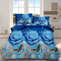 Wholesale king size bedding sets butterflies for sale - Group buy 3D Flower Butterfly Print Pillowcase Duvet Quilt Bedlinen Cover set winter Flat Sheet queen king size bedspread Bedding Set