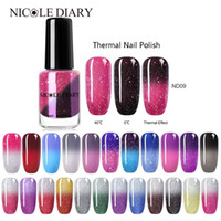 Wholesale polish spring water for sale - Group buy NICOLE DIARY Thermal Nail Polish Glitter Temperature Color Changing Water based Varnish Shinny Shimmer Peel Off Nail Lacquer