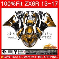 ninja 636 ouro preto venda por atacado-Injeção Para KAWASAKI NINJA ZX 636 ZX-6R ZX-6R ZX6R 13 32NO.64 ZX 6R ZX-636 2013 2014 2015 ouro negro novo 2016 2017 13 14 15 16 17 Carenagens