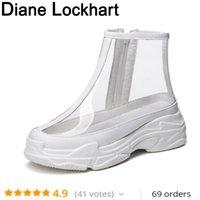 bottes compensées à la cheville achat en gros de-Bottes de cheville claires pour les femmes semelle épaisse noir bout rond plate-forme chaussures PVC transparent bottes courtes