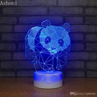 Wholesale panda table light resale online - Remote Colors Panda Shape D Table Lamp LED Night Light Bedroom Sleep Lighting Home Decor Gifts