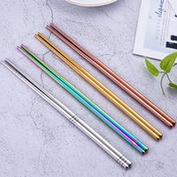 pauzinhos de ouro venda por atacado-Brilhante Titânio chapeado Chopsticks aço inoxidável anti-derrapante Golden Chopsticks Azul Rosa de Ouro Preto do arco-íris Praça Chopsticks