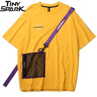 bolso da camisa amarela venda por atacado-SWJ 2019 Homens Harajuku T Shirt Zipper Bolsos Swag Fita Hip Hop Streetwear T-Shirt de Algodão de Manga Curta de Verão Amarelo Tshirt Hipster