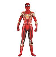 ingrosso catsuit uomo di ragno-Hot Unisex Halloween Red Man Spider 3D Costume Cosplay Lycar Spandex di Alta Qualità Zentai Tuta Catsuit Tuta