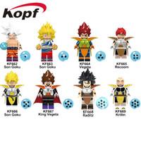 muñeca vegeta al por mayor-Bloque Puzzle Dragon Ball GT ABS Minifig Goku Vegeta Modelo de colección Venta al por menor figuras de acción muñeca sorpresa