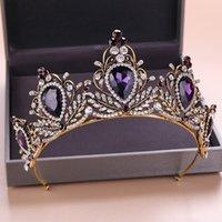 bandeau violet diadème achat en gros de-Grand Baroque Vintage Violet Cristal De Mariée Tiara Et Couronne Strass Pageant Diadème Bandeau Accessoires De Cheveux De Mariage Pour Les Femmes