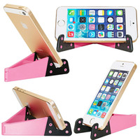 Wholesale foldable mobile phone stand online – Colorful Folda V Shaped Universal Foldable Mobile Cell Phone Stand Holder Portable Tablet PC Foldable Pad Phone Mobile Hands Holder Stand