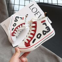 Wholesale girl help resale online - Fashion new child boys canvas shoes autumn New Lace Color matching child canvas Girl Side zipper High help tide