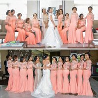 Wholesale blush strapless wedding dress for sale - Group buy 2019 african blush High Quality Coral Satin Mermaid Long Bridesmaid Dresses Sheer Neck Lace Three Quarter Sleeves Wedding Party Dresses