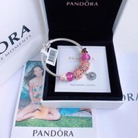 pulseiras pandora completo venda por atacado-Pulseira Designer Pulseira Pandora Pulseira De Prata Diamante Gemstone Decoração 2019 Acessórios De Moda De Luxo Pacote Completo Caixa De Presente Tamanho 16
