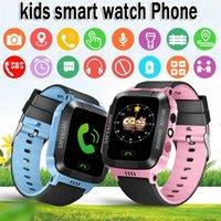 mp3 para niños al por mayor-Niños Relojes inteligentes teléfono Podómetro Reloj KID watchohones GPS Tarjeta SIM Reproductor de MP3 para niños Apple Android Watchphone Niños
