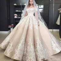 Wholesale puffy ball gown princess wedding dress resale online - Princess Puffy Ball Gown Champagne Wedding Dresses Off The Shoulder Applique Off Shoulder Full length Church Garden Bridal Gown