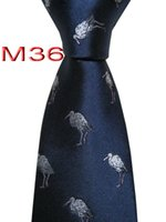 marineblau krawatte großhandel-Klassische jacquardgewebten HANDMADE Mens Tiere Muster Navy / blaue Farbe Männer binden Krawatte M36