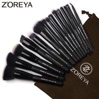 ingrosso migliore ombra di occhio nera-Set di pennelli per trucco nero di marca 15 pezzi Zoreya Pennello per fondotinta in polvere per ombretto per il trucco I migliori strumenti di miscelazione correttore cosmetico