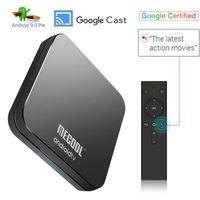 atv remoto venda por atacado-Certificado do Google Android 9.0 pie ATV Caixa de TV com Voz Remoto Caixas Inteligentes Amlogic S905X2 DDR4 4G 32G Bluetooth Dual Wi-fi Mecool KM9 Pro OTA