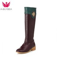 Wholesale female boot footwear resale online - Women Casual Mid Heels PU Leather Smooth Leather Knee High Boots Shoes New Female Ladies Round Toe Footwear Boots Shoes