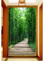 photos fraîches achat en gros de-Papier peint 3D personnalisé photo soie mural papier peint Fresh bamboo forest board road 3D porche peinture murale de fond stickers muraux décoration de la maison