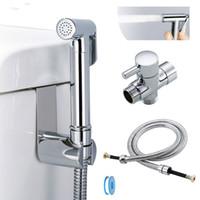 ingrosso portaoggetti da bagno-Kit di spruzzatura per bidet da toilette in ottone cromato rubinetto per bidet da bagno rubinetto doccia con flessibile Supporto per adattatore a T