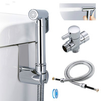 Toilet hand held bidet sprayer kit brass chrome plated bathroom bidet faucet spray shower head with hose & T-adapter & holder