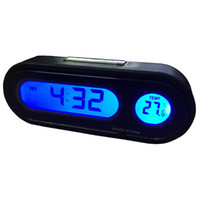 мини-термометр-гигрометр оптовых-2 In 1 Car Digital Clock Automobile Watch Automotive Auto Thermometer Hygrometer Decoration Ornament Mini Clock In Car-Styling