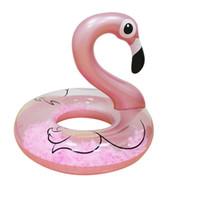 tubo circular al por mayor-110 * 100 cm Anillo de natación de flamenco inflable de oro rosa con plumas Mujeres Nadar Circle Tube Beach Summer Water Party Inflable Juguetes para la piscina