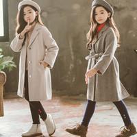 koreanische kinder mädchen wolle groihandel-Korean Art-Mädchen-Wollmantel für weibliche Teenager Oberbekleidung-Mantel-Kind-Kleidung Winter-Thick Gürtel Wollmantel