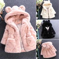 chaquetas de bebé niña caen al por mayor-2019 Cute Sweat Soft Festival Baby Girl Coat con capucha de piel Chaqueta con cremallera de lana Orejas Rosa Invierno Otoño Otoño 3 4 5 6 7 8 años