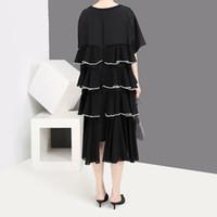 kore şifon elbiseler stil uzun toptan satış-2019 Kore Stil Kadın Yaz Siyah Uzun Şifon Elbise Basamaklı Ruffles Artı Boyutu Bayanlar Akşam Parti Elbise Robe Femme F1026