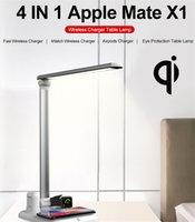 iphone schreibtischaufladeeinheit großhandel-4 in 1 Wireless-Ladegerät LED-Schreibtischlampe mit USB-Ladeanschluss, schnelle drahtlose Ladestation kompatibel mit Apple-Uhr Airpods iPhone Xs