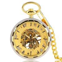 relógios de ouro de luxo venda por atacado-Relógios de Bolso de Ouro do vintage para Homens Projeto Transparente Mão Vento Relógio Mecânico Pingente Elegante Luxo Cadeia De Ouro