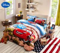 Wholesale boys queen sized bedding online - 3d McQueen Cars Bedding set Queen size cotton bed sheet comforter duvet cover for kids boys bedroom decor pieces full blue