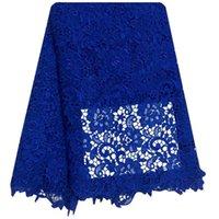ingrosso tessuto di ricamo idrosolubile-Ricamo Design Africano Cord Pizzo Tessuti Alta Qualità Nigeria Abito da sposa Pizzo Solubile in acqua Guipure Tessuto in pizzo blu royal