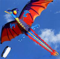 crianças pipas frete grátis venda por atacado-Clássico Dragão Papagaio 140 * 120 cm Com Cauda E Pega Única Linha dos desenhos animados 3D dinossauro Kite C6237