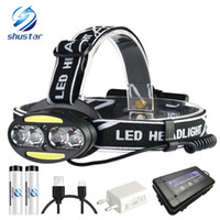 Wholesale super chargers online – Super bright LED headlamp x T6 x COB x Red LED lumens led headlight lighting modes with batteries charger