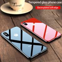 ingrosso lastre di vetro iphone-Per iphone 11 pro caso max telefono teca di vetro temperato lato soft shell all-inclusive coperture del telefono semplice placcatura di colore solido