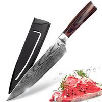 faca de cozinha japonesa damasco venda por atacado-Faca de cozinha de 8 polegada Chef Facas 7CR17 440C Alto Carbono De Aço Inoxidável Japonês Imitado Damasco Lixar Padrão De Laser Santoku