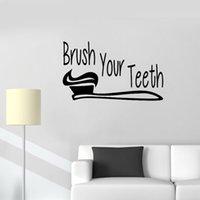 papel de parede bonito do banheiro venda por atacado-Citar Bathroom Wall Sign escovar os dentes adesivos de parede Art Vinyl Washroom Decor Mural Waterproof Cute Baby Wallpaper quarto