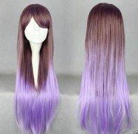 ingrosso parrucca calda della ragazza-WIG LL HOT Free Hot Girl Long Full parrucca Lolita Cosplay Party Purple Brown Gradient Wig