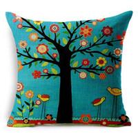 mavi kuş yastık örtüsü toptan satış-1 ADET Siyah Büyük Ağaç Çiçek Kuş Atın Yastık Kılıfı Keten Mavi Kare Dekoratif Yastık Kanepe Yastık Atmak Yastık Kapak L704