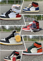 ingrosso n scatole-Con la scatola 1 High Olimpiadi dell'Unione One X Bred Toe Satin Black NRG N. L s Chicago Reale Varsity Red UNC Fearless 1 Designer Shoes
