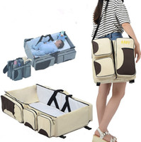 Wholesale crib diaper resale online - Mummy Bags Folding Baby Crib Beds Multifunction Diaper Bags Bed Large Capacity Shoulder Bag Travel Diaper Tote Bag YW3550