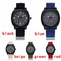 relojes gemelos al por mayor-Venta al por mayor 5 colores Cool Summer Men Sport Watch Military Army Pilot Fabric Strap Men Gemius Army Watches AAM009