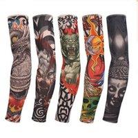 naylon kollu kollar toptan satış-Dövme Kol çorap Elastik Kollu RRA1063 Sürüş Naylon Elastik Sahte geçici dövme Sleeve Açık Kol Kol Karşıtı UV Güneş Balıkçılık