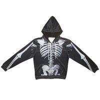 ingrosso scheletro cerniera-Felpa con cappuccio uomo con cerniera Skeleton Skull 3D Full stampato uomo con cappuccio Felpa con cappuccio unisex casual con maniche lunghe Felpe Tops (RL421)