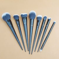 Wholesale free plastic powder for sale - Group buy 8pcs set KVD makeup brush collection double head Loose powder foundation high gloss brush